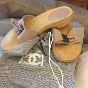 CHANEL nude color suede wood bottom sandals size 6